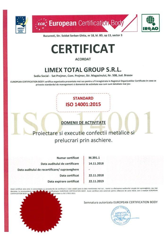ISO 14001 2018 Limex romania