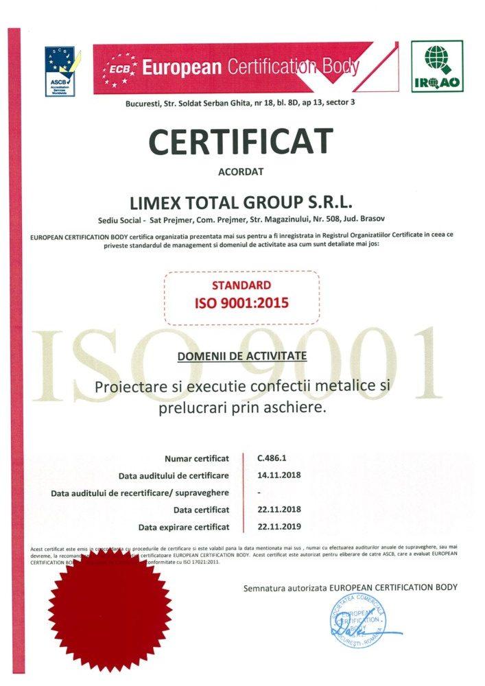 ISO 9001 2018 Limex romania